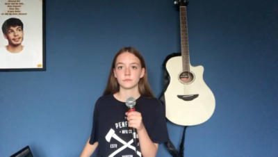 13 year old, Bella Matthews performs her own rap called 2020
