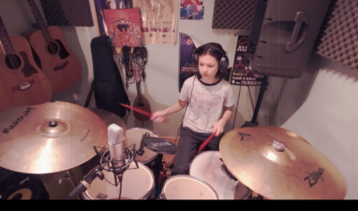 Young drummer, Miles Burdock plays along to The Trooper by Iron Maiden