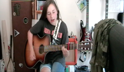 Tally Smith (aged 12), playing Wish You Were Here by Pink Floyd on the guitar